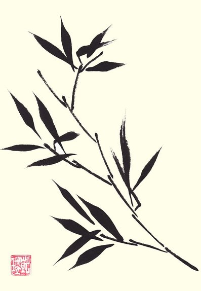 Original ink painting bamboo