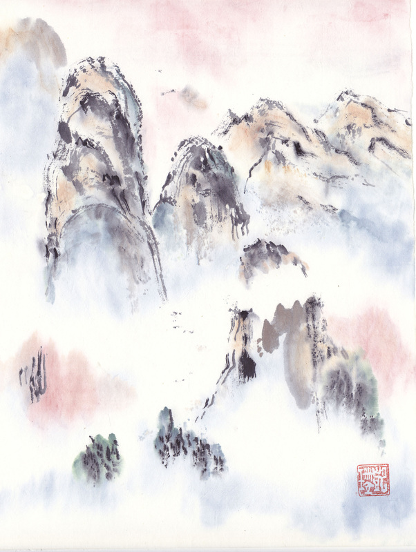 chinese landscape brush painting of mountains original